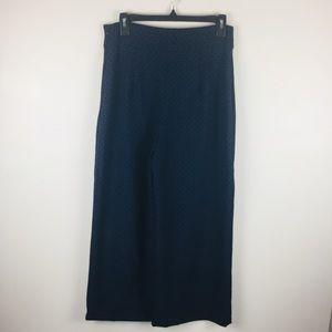 Zara Wide Leg Culottes Navy & Black Geometric M